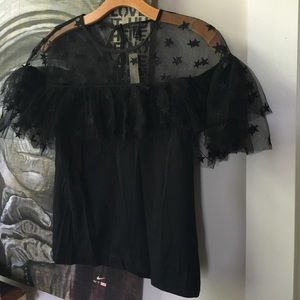 J Crew sheer blouse small NWT black formal